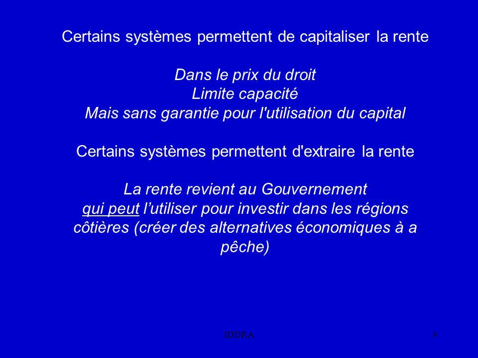 IDDRA9 Certains systèmes permettent de capitaliser la rente Dans le prix du droit Limite capacité Mais sans garantie pour l utilisation du capital Certains systèmes permettent d extraire la rente La rente revient au Gouvernement qui peut l'utiliser pour investir dans les régions côtières (créer des alternatives économiques à a pêche)