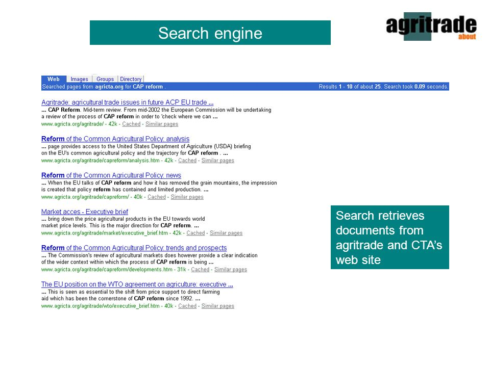 Search engine Search retrieves documents from agritrade and CTA's web site