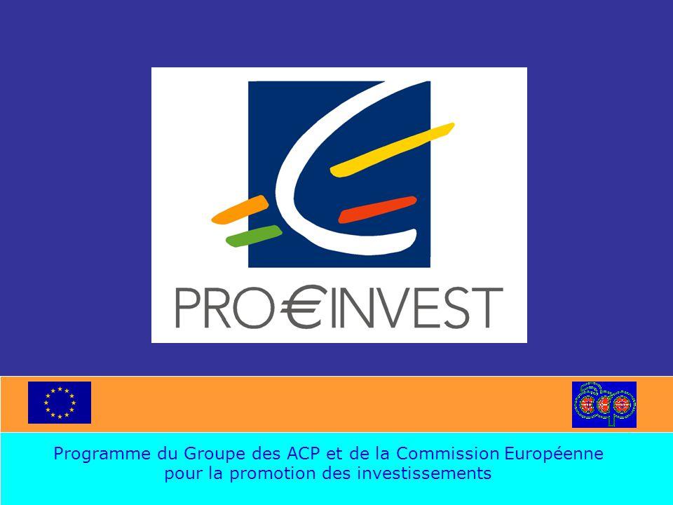 OBJECTIF SOUTIEN POST MANIFESTATION Assistance technique Ad hoc aux entreprises ACP viables ayant participé à une réunion sectorielle ou sous sectorielle –Faciliter la finalisation des accords de coopération entre les entreprises des ACP et de l'UE –Faciliter l 'élaboration des projets