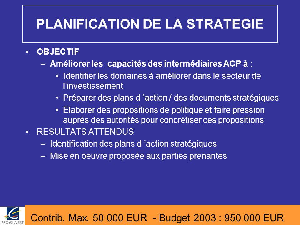 PLANIFICATION DE LA STRATEGIE OBJECTIF –Améliorer les capacités des intermédiaires ACP à : Identifier les domaines à améliorer dans le secteur de l'in