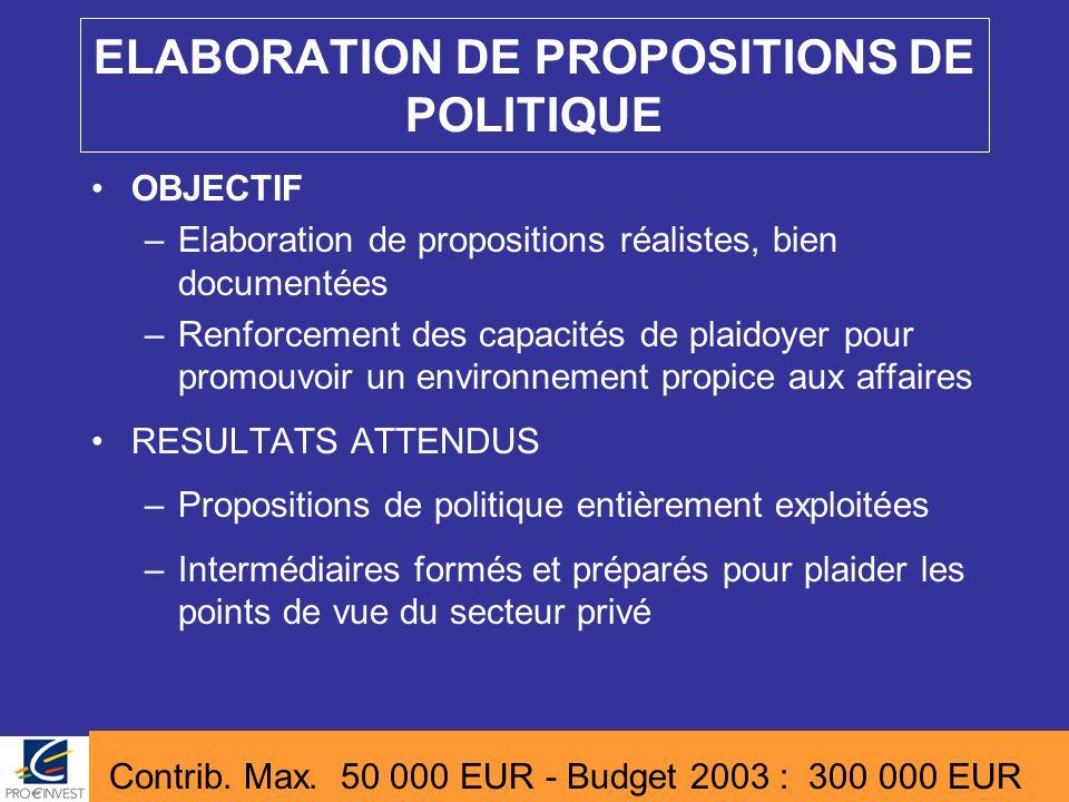 ELABORATION DE PROPOSITIONS DE POLITIQUE OBJECTIF –Elaboration de propositions réalistes, bien documentées –Renforcement des capacités de plaidoyer po
