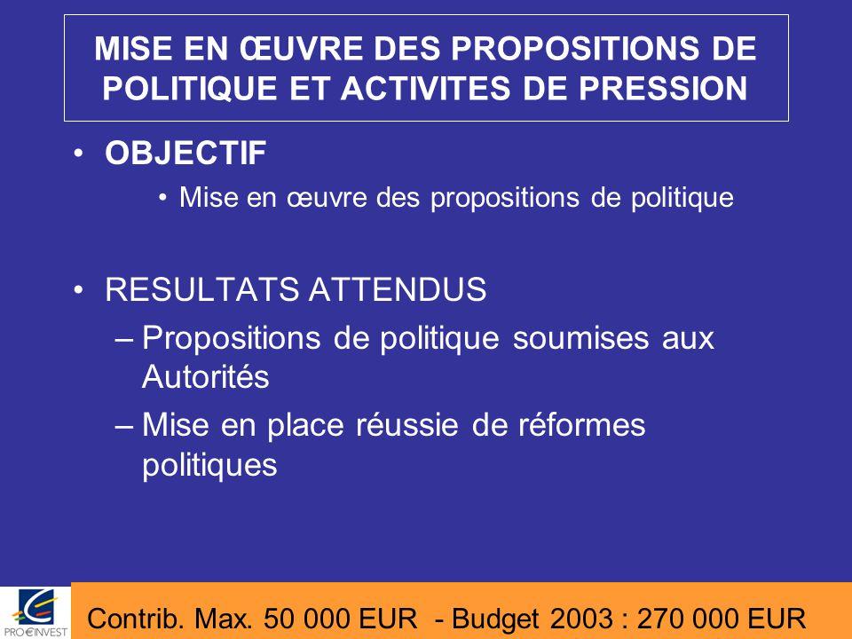 MISE EN ŒUVRE DES PROPOSITIONS DE POLITIQUE ET ACTIVITES DE PRESSION OBJECTIF Mise en œuvre des propositions de politique RESULTATS ATTENDUS –Proposit