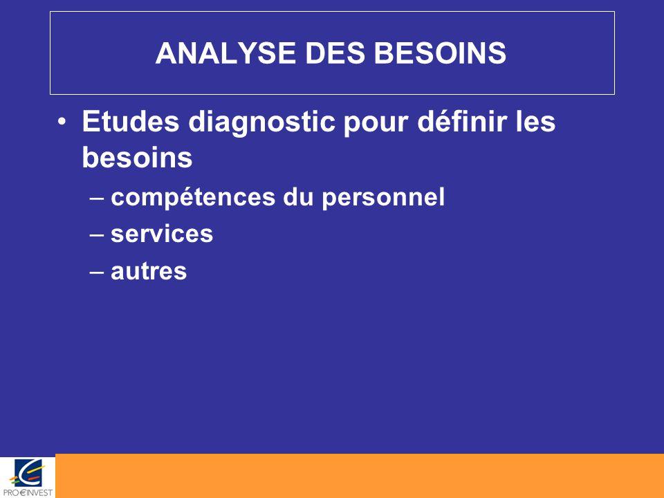 ANALYSE DES BESOINS Etudes diagnostic pour définir les besoins –compétences du personnel –services –autres