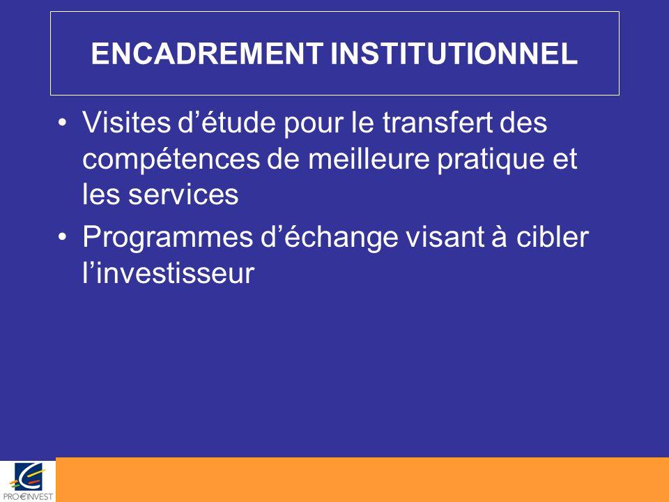 ENCADREMENT INSTITUTIONNEL Visites d'étude pour le transfert des compétences de meilleure pratique et les services Programmes d'échange visant à cible