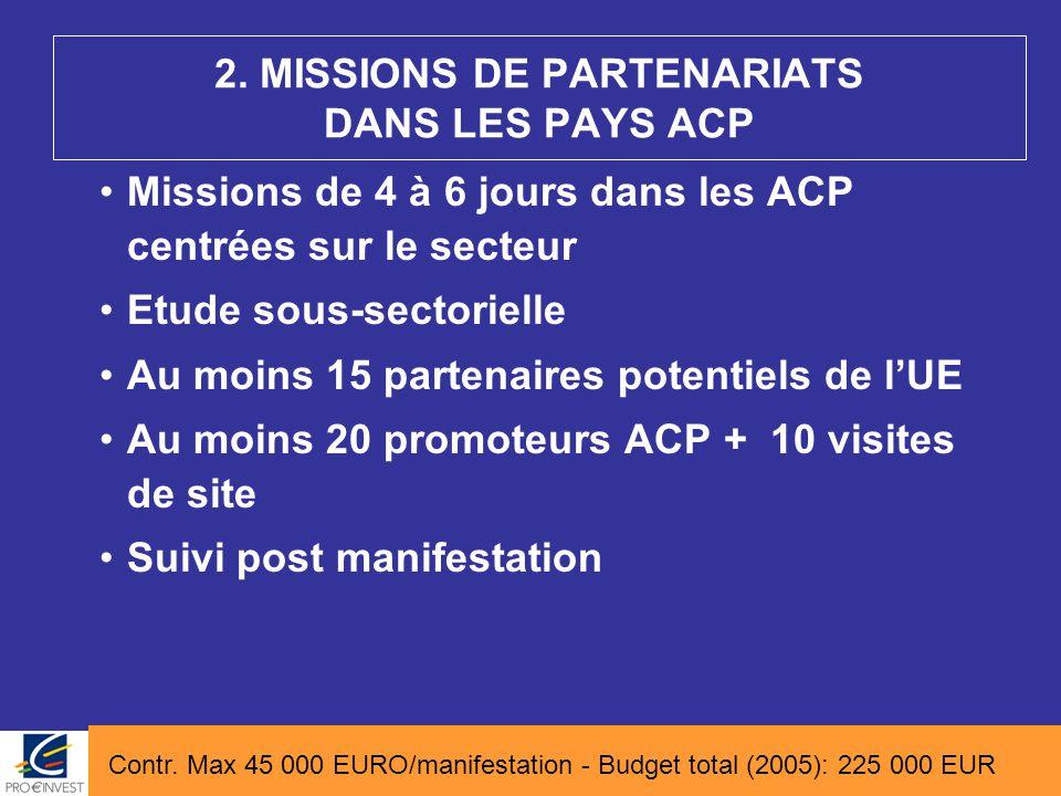 Missions de 4 à 6 jours dans les ACP centrées sur le secteur Etude sous-sectorielle Au moins 15 partenaires potentiels de l'UE Au moins 20 promoteurs