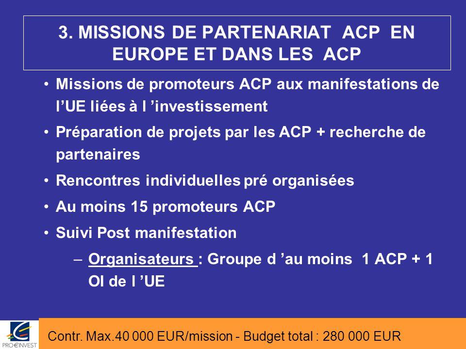 Missions de promoteurs ACP aux manifestations de l'UE liées à l 'investissement Préparation de projets par les ACP + recherche de partenaires Rencontr