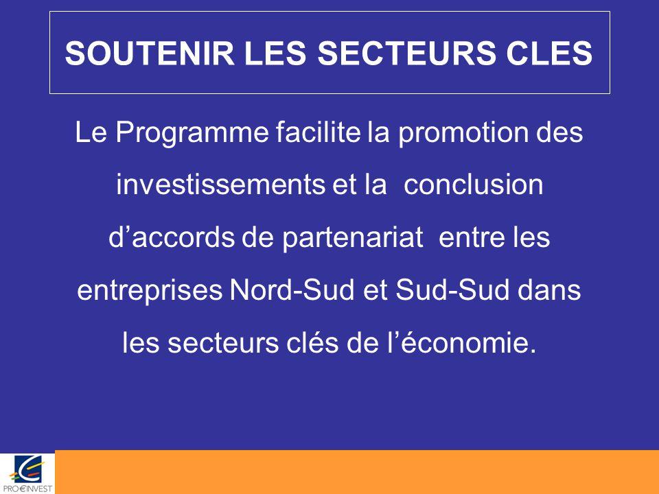 SOUTENIR LES SECTEURS CLES Le Programme facilite la promotion des investissements et la conclusion d'accords de partenariat entre les entreprises Nord