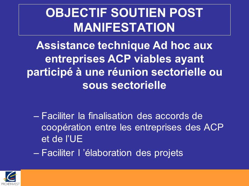 OBJECTIF SOUTIEN POST MANIFESTATION Assistance technique Ad hoc aux entreprises ACP viables ayant participé à une réunion sectorielle ou sous sectorie
