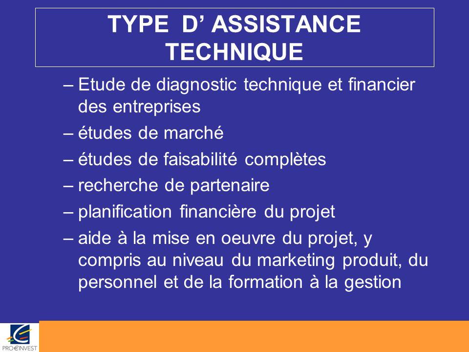 TYPE D' ASSISTANCE TECHNIQUE –Etude de diagnostic technique et financier des entreprises –études de marché –études de faisabilité complètes –recherche