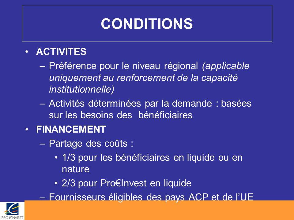 CONDITIONS ACTIVITES –Préférence pour le niveau régional (applicable uniquement au renforcement de la capacité institutionnelle) –Activités déterminée