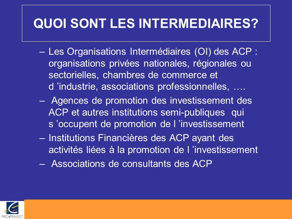 QUOI SONT LES INTERMEDIAIRES? –Les Organisations Intermédiaires (OI) des ACP : organisations privées nationales, régionales ou sectorielles, chambres