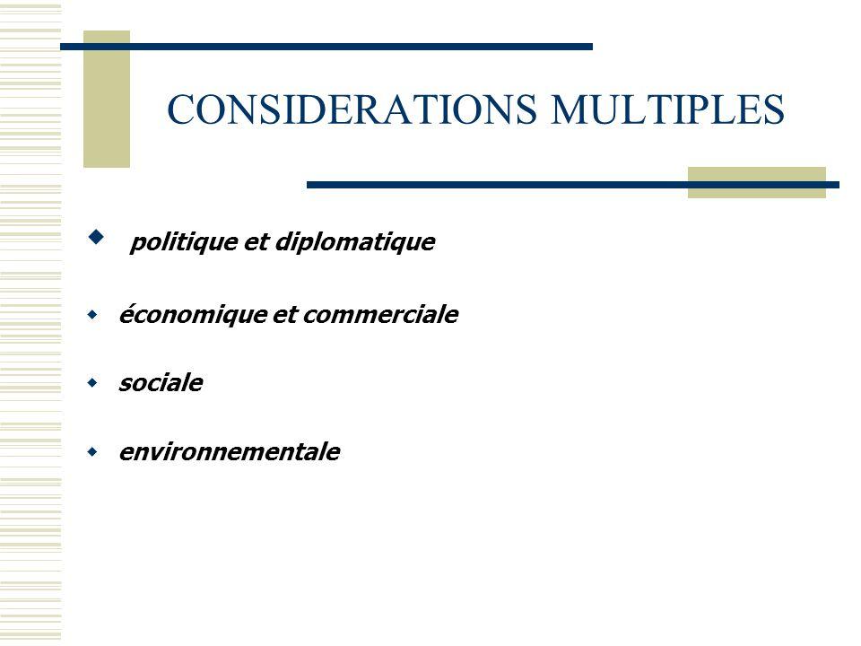 CONSIDERATIONS MULTIPLES  politique et diplomatique  économique et commerciale  sociale  environnementale