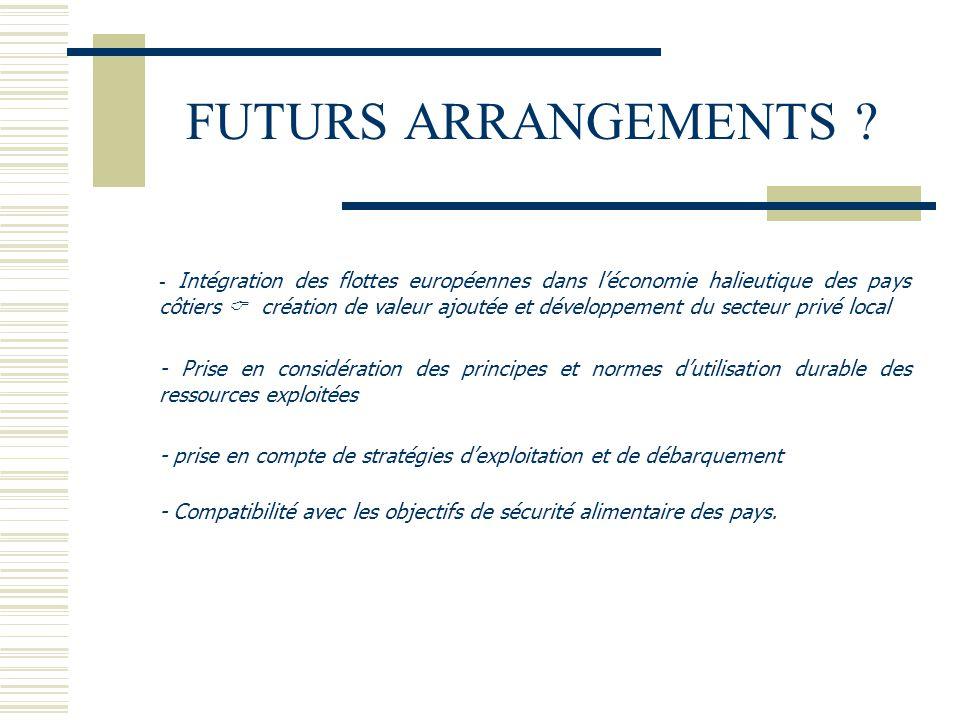 FUTURS ARRANGEMENTS ? - Intégration des flottes européennes dans l'économie halieutique des pays côtiers  création de valeur ajoutée et développement