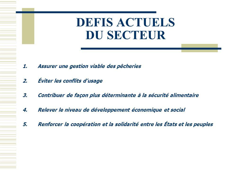 DEFIS ACTUELS DU SECTEUR 1.Assurer une gestion viable des pêcheries 2.Éviter les conflits d'usage 3.Contribuer de façon plus déterminante à la sécurit