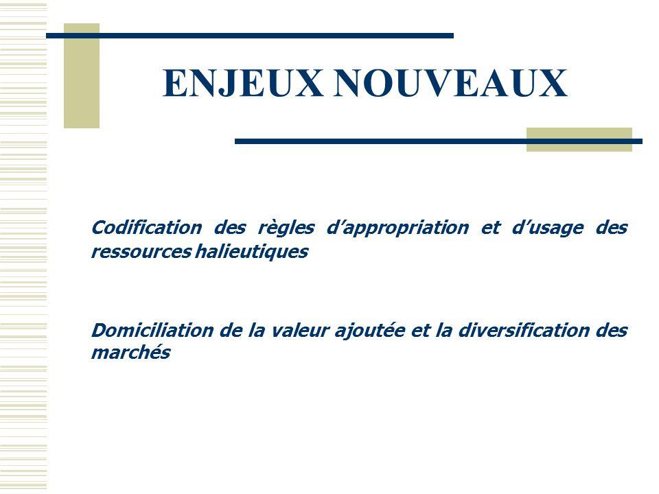 ENJEUX NOUVEAUX Codification des règles d'appropriation et d'usage des ressources halieutiques Domiciliation de la valeur ajoutée et la diversificatio