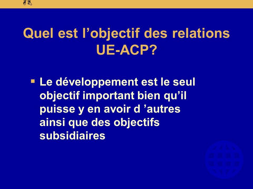 AB Quel est l'objectif des relations UE-ACP.