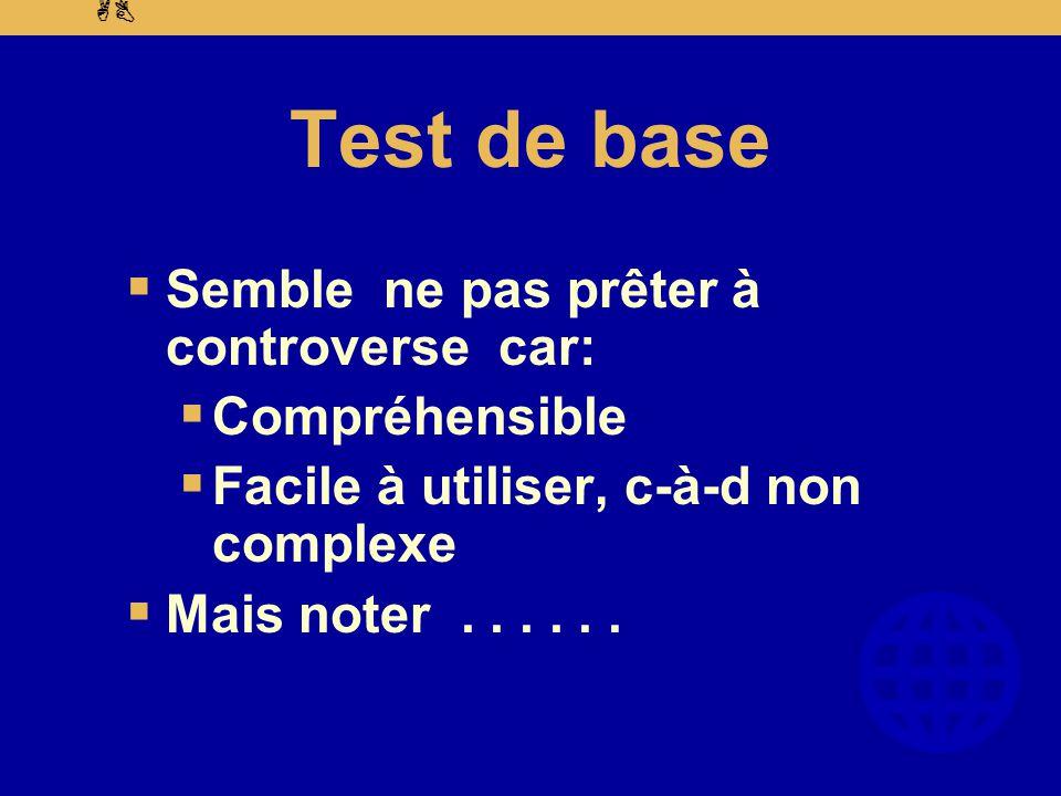 AB Test de base  Semble ne pas prêter à controverse car:  Compréhensible  Facile à utiliser, c-à-d non complexe  Mais noter......