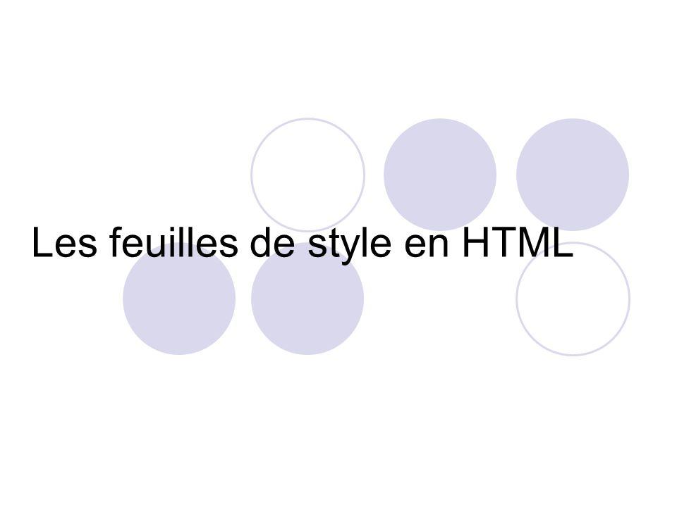 Les feuilles de style en HTML