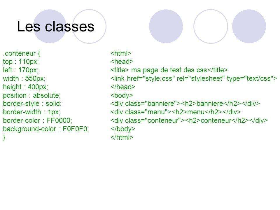 Les classes.conteneur { top : 110px; left : 170px; ma page de test des css width : 550px; height : 400px; position : absolute; border-style : solid; banniere border-width : 1px; menu border-color : FF0000; conteneur background-color : F0F0F0; }
