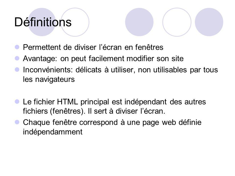 Définitions Permettent de diviser l'écran en fenêtres Avantage: on peut facilement modifier son site Inconvénients: délicats à utiliser, non utilisables par tous les navigateurs Le fichier HTML principal est indépendant des autres fichiers (fenêtres).
