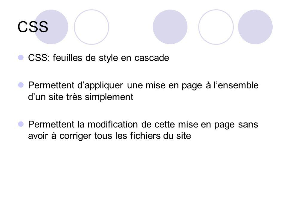 CSS CSS: feuilles de style en cascade Permettent d'appliquer une mise en page à l'ensemble d'un site très simplement Permettent la modification de cette mise en page sans avoir à corriger tous les fichiers du site