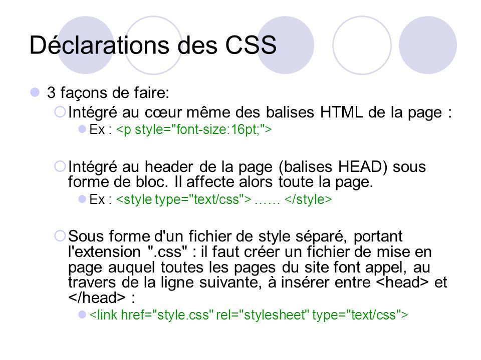 Déclarations des CSS On définit d'abord les styles de la page (couleur de fond, …) et du texte des paragraphes: body { background-color : FFFFFF; } p { font-size : 12pt; font-family : Arial, Helvetica, Geneva, sans-serif; color : 000000; }
