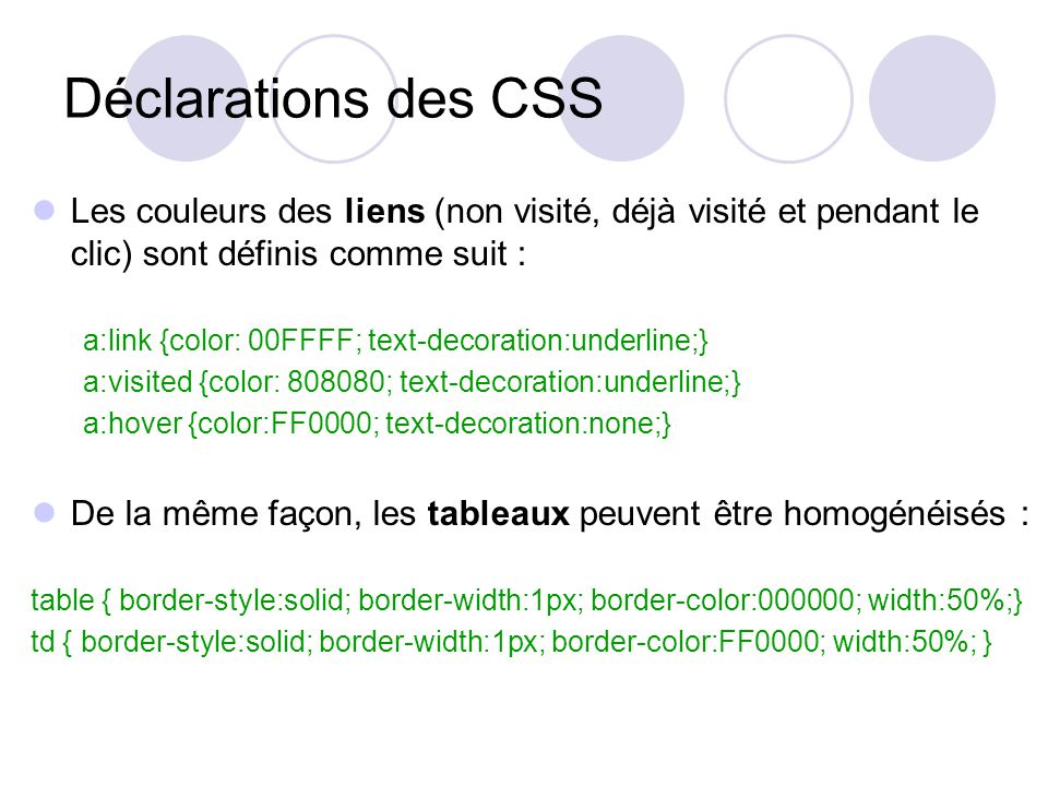 Déclarations des CSS Les couleurs des liens (non visité, déjà visité et pendant le clic) sont définis comme suit : a:link {color: 00FFFF; text-decoration:underline;} a:visited {color: 808080; text-decoration:underline;} a:hover {color:FF0000; text-decoration:none;} De la même façon, les tableaux peuvent être homogénéisés : table { border-style:solid; border-width:1px; border-color:000000; width:50%;} td { border-style:solid; border-width:1px; border-color:FF0000; width:50%; }