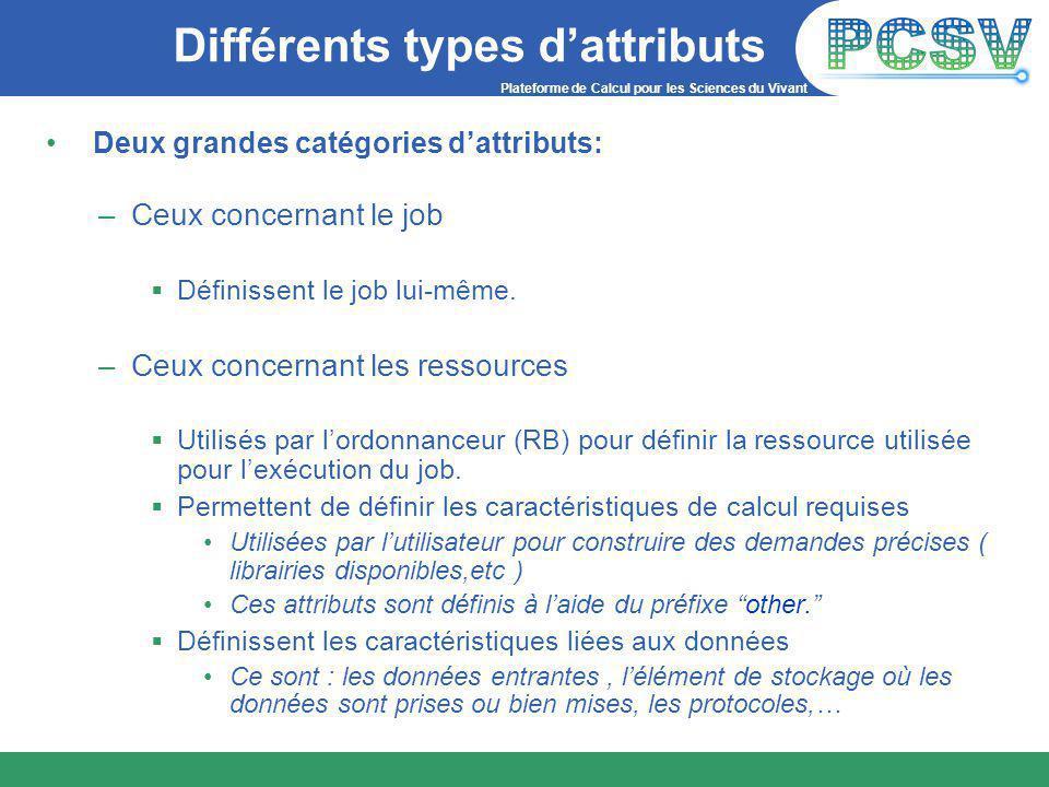 Plateforme de Calcul pour les Sciences du Vivant Différents types d'attributs Deux grandes catégories d'attributs: –Ceux concernant le job  Définissent le job lui-même.