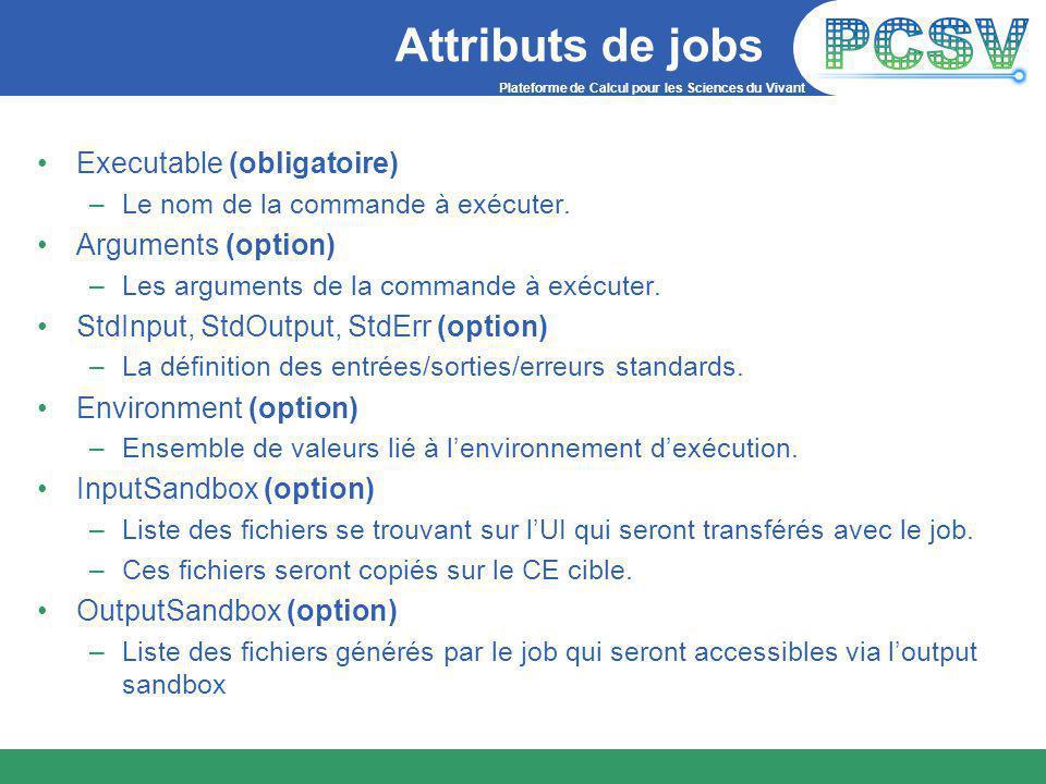Plateforme de Calcul pour les Sciences du Vivant Attributs de jobs Executable (obligatoire) –Le nom de la commande à exécuter.