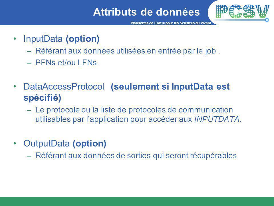 Plateforme de Calcul pour les Sciences du Vivant Attributs de données InputData (option) –Référant aux données utilisées en entrée par le job.