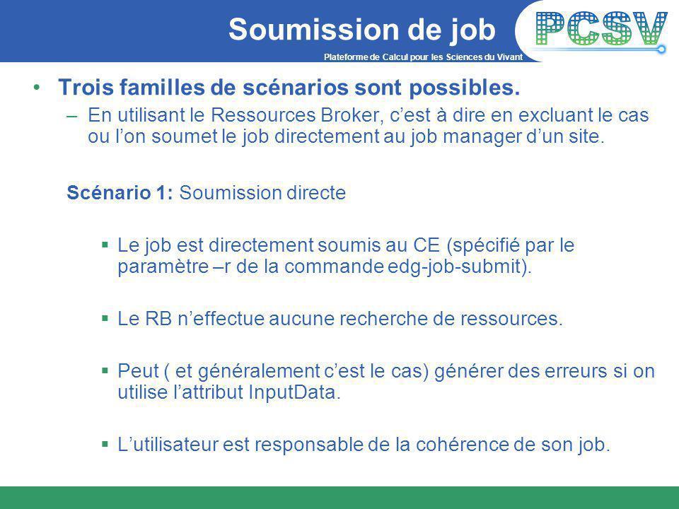 Plateforme de Calcul pour les Sciences du Vivant Soumission de job Trois familles de scénarios sont possibles.