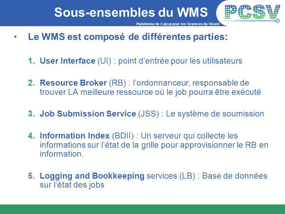 Plateforme de Calcul pour les Sciences du Vivant Sous-ensembles du WMS Le WMS est composé de différentes parties: 1.User Interface (UI) : point d'entrée pour les utilisateurs 2.Resource Broker (RB) : l'ordonnanceur, responsable de trouver LA meilleure ressource où le job pourra être exécuté 3.Job Submission Service (JSS) : Le système de soumission 4.Information Index (BDII) : Un serveur qui collecte les informations sur l'état de la grille pour approvisionner le RB en information.