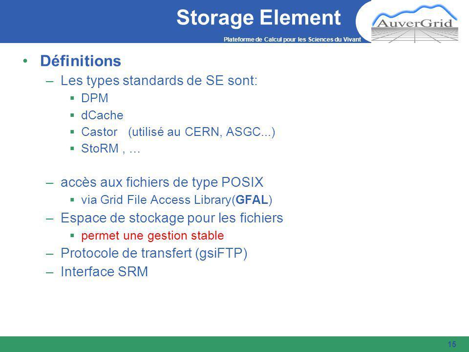 Plateforme de Calcul pour les Sciences du Vivant 15 Storage Element Définitions –Les types standards de SE sont:  DPM  dCache  Castor (utilisé au CERN, ASGC...)  StoRM, … –accès aux fichiers de type POSIX  via Grid File Access Library(GFAL) –Espace de stockage pour les fichiers  permet une gestion stable –Protocole de transfert (gsiFTP) –Interface SRM