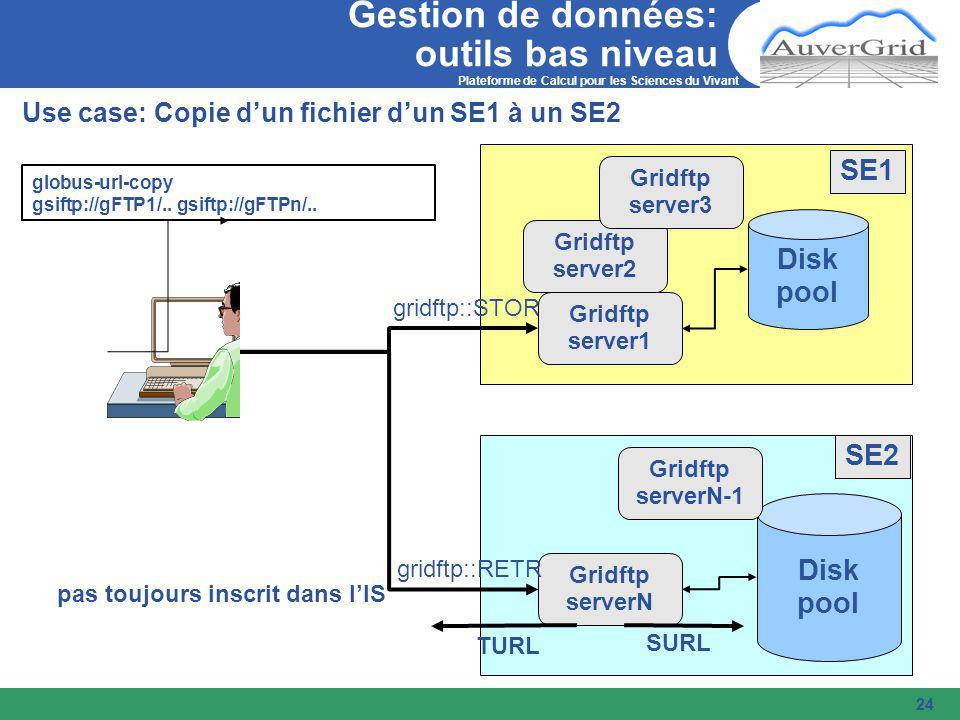 Plateforme de Calcul pour les Sciences du Vivant 24 Gestion de données: outils bas niveau Use case: Copie d'un fichier d'un SE1 à un SE2 Disk pool Disk pool Gridftp serverN gridftp::STOR gridftp::RETR globus-url-copy gsiftp://gFTP1/..