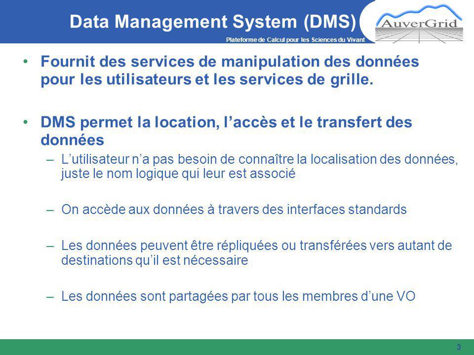 Plateforme de Calcul pour les Sciences du Vivant 3 Data Management System (DMS) Fournit des services de manipulation des données pour les utilisateurs et les services de grille.
