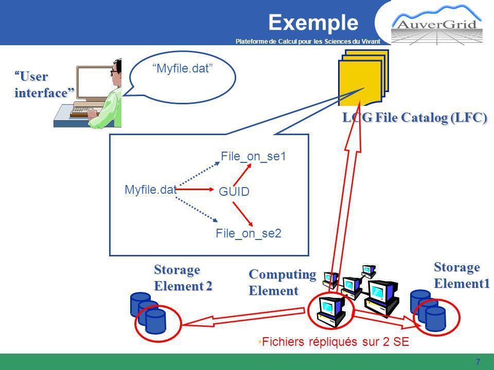 Plateforme de Calcul pour les Sciences du Vivant 7 ExempleStorageElement1 User interface LCG File Catalog (LFC) Storage Element 2 Fichiers répliqués sur 2 SE Myfile.dat Myfile.dat File_on_se1 File_on_se2 GUID ComputingElement