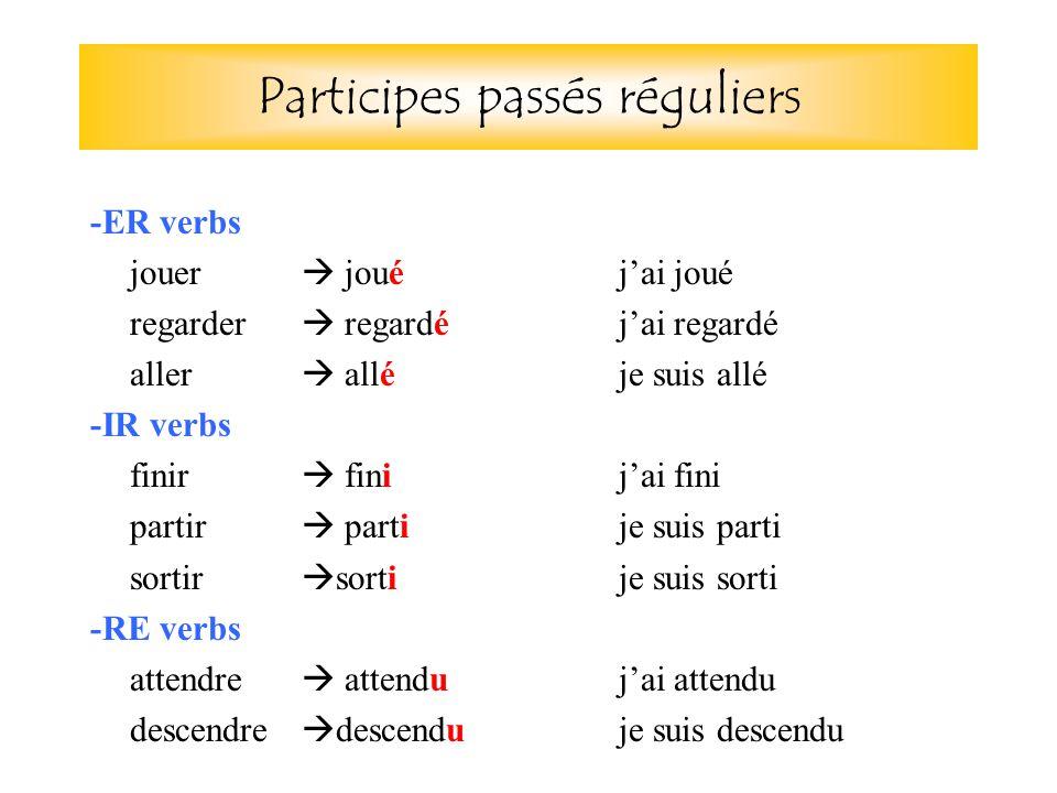 Participes passés réguliers -ER verbs jouer  joué j'ai joué regarder  regardé j'ai regardé aller  alléje suis allé -IR verbs finir  fini j'ai fini