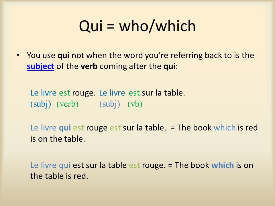 Qui = who/which You use qui not when the word you're referring back to is the subject of the verb coming after the qui: subject Le livre est rouge.Le livre est sur la table.