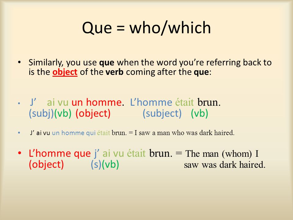 Que = who/which Similarly, you use que when the word you're referring back to is the object of the verb coming after the que: J' ai vu un homme.