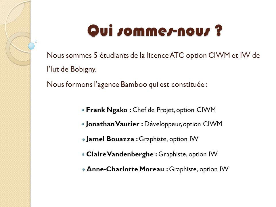 Qui sommes-nous ? Nous sommes 5 étudiants de la licence ATC option CIWM et IW de l'Iut de Bobigny. Nous formons l'agence Bamboo qui est constituée : F