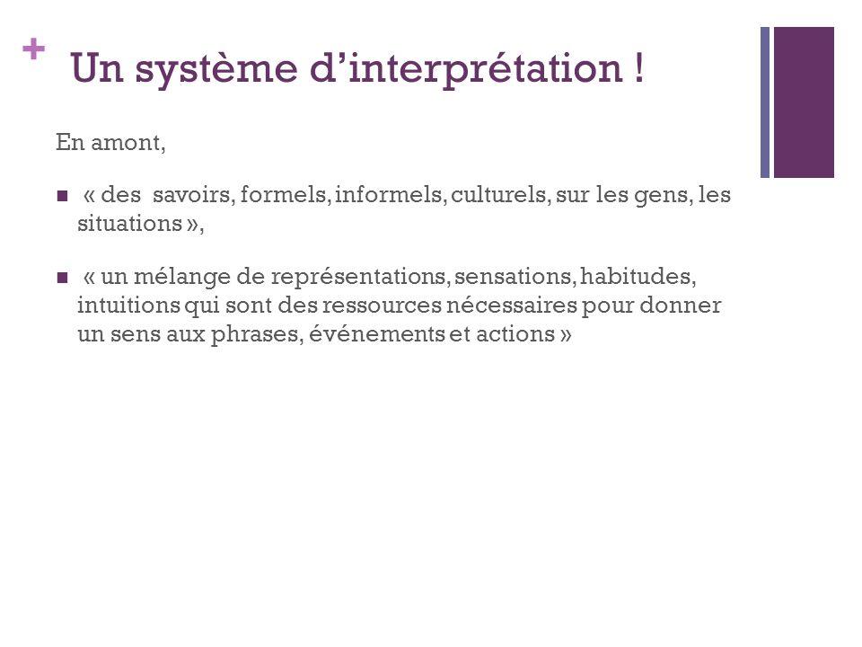 + Un système d'interprétation ! En amont, « des savoirs, formels, informels, culturels, sur les gens, les situations », « un mélange de représentation