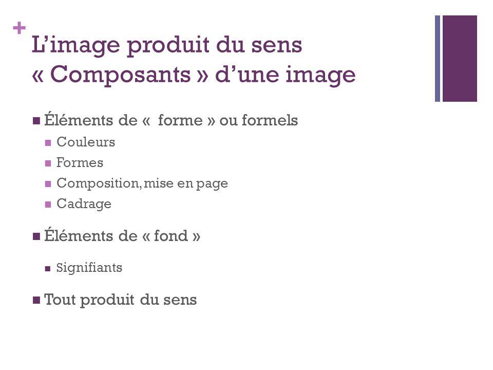 + L'image produit du sens « Composants » d'une image Éléments de « forme » ou formels Couleurs Formes Composition, mise en page Cadrage Éléments de «