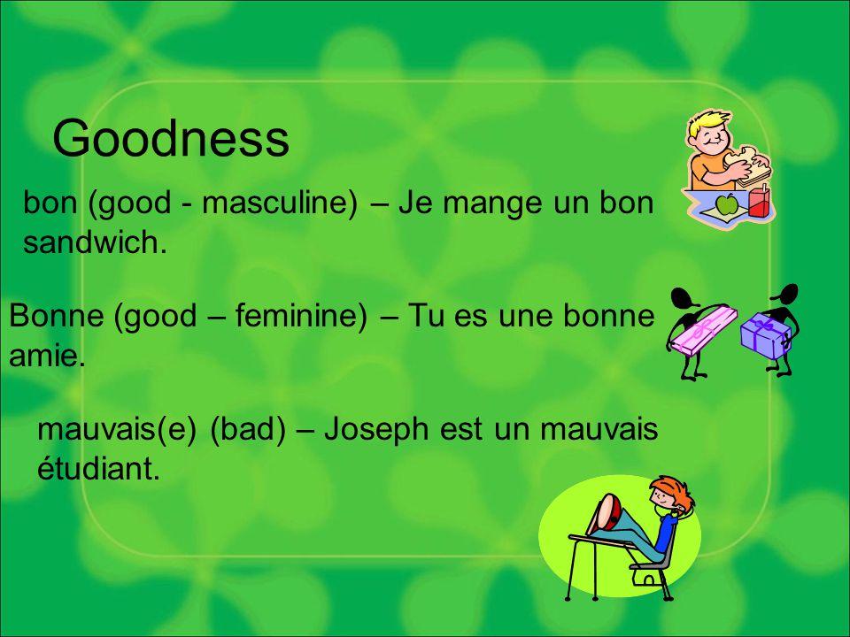 Goodness bon (good - masculine) – Je mange un bon sandwich.
