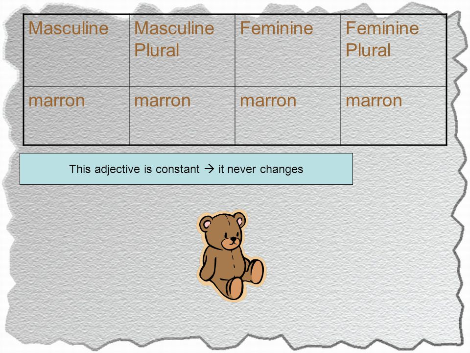 MasculineMasculine Plural FeminineFeminine Plural marron This adjective is constant  it never changes