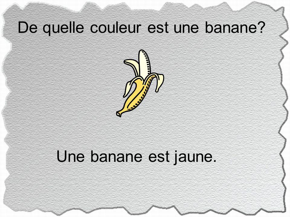 De quelle couleur est une banane Une banane est jaune.