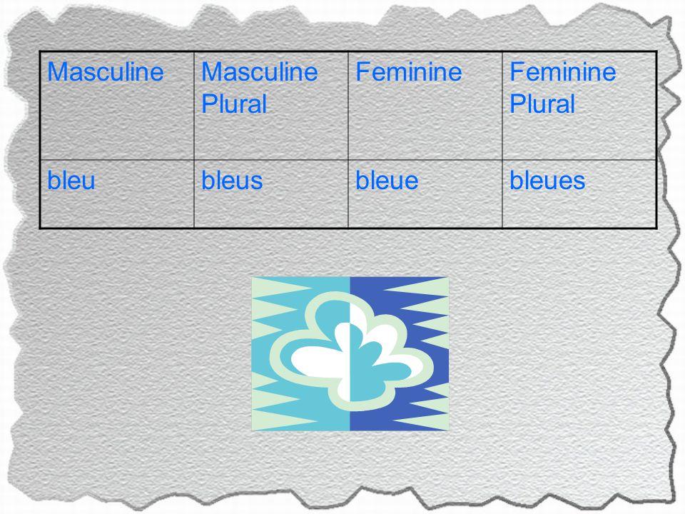 MasculineMasculine Plural FeminineFeminine Plural bleubleusbleuebleues