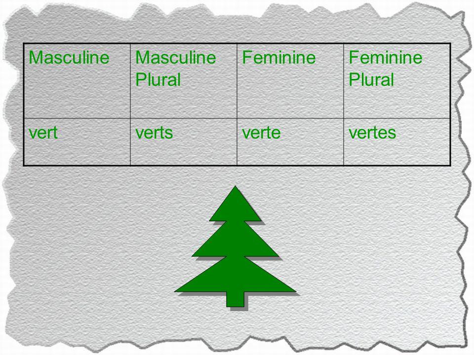 MasculineMasculine Plural FeminineFeminine Plural vertvertsvertevertes