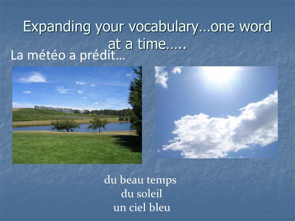 Expanding your vocabulary…one word at a time….. La météo a prédit… des nuages