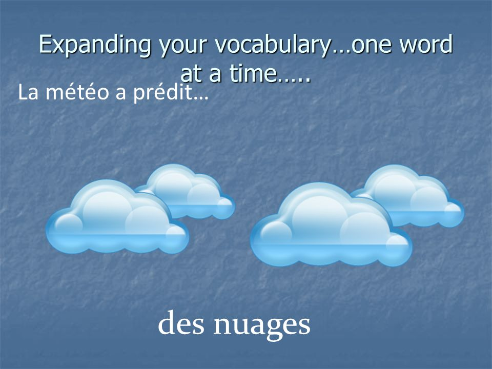 Expanding your vocabulary…one word at a time….. La météo a prédit… des nuages