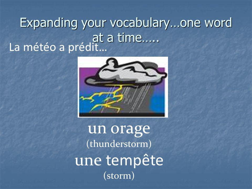 Expanding your vocabulary…one word at a time….. La météo a prédit… un ouragan (hurricane)